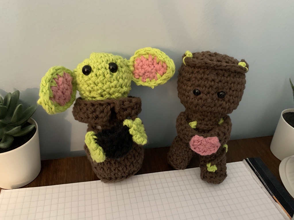 Baby Yoda and Baby Groot crochet dolls